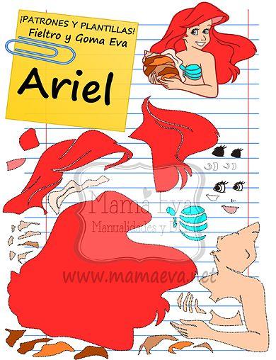 Descarga gratis nuestras plantillas para goma eva y fieltro de tus personajes favoritos: Ariel, Sebastián, Flounder...