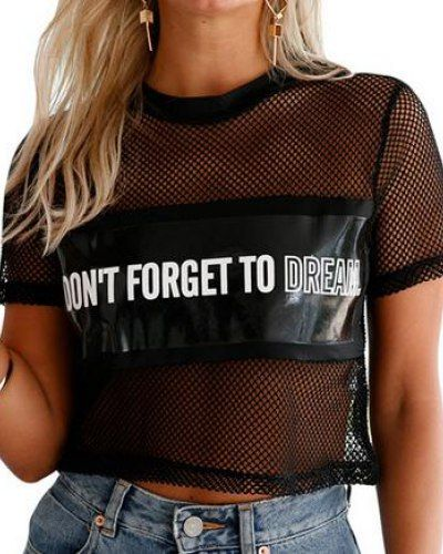 See through crop top black sheer mesh t shirt dont forget to dream for  teenage girls
