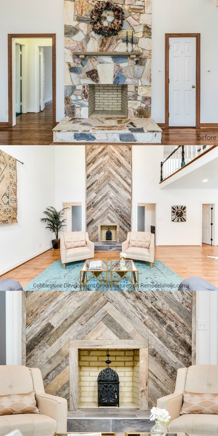 Stone Fireplace Update to Wood Herringbone, Fendall Home Renovation, Cobblestone Development Group featured on @Remodelaholic