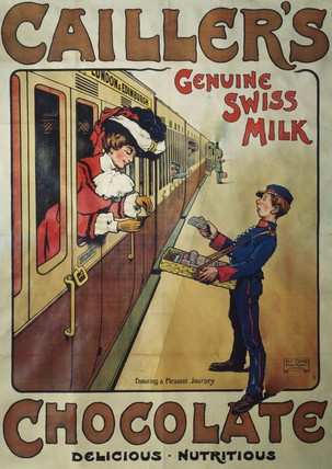 Vintage chocolate poster for Cailler. The oldest brand of Swiss choc in production today - apparently uses fresh milk on the chocolate...