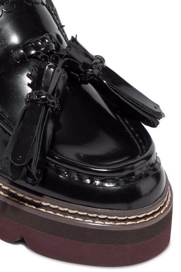 21b0963eb35 Tasseled glossed-leather platform loafers