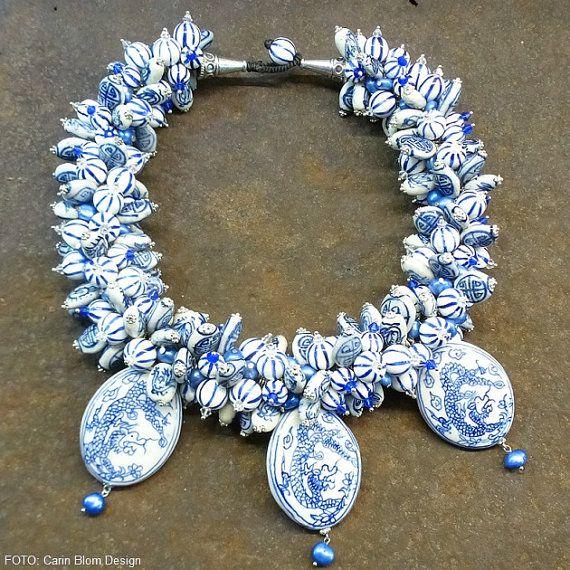 BiB cheramic porcelain dragon bird china blue and by CBlomsDesign