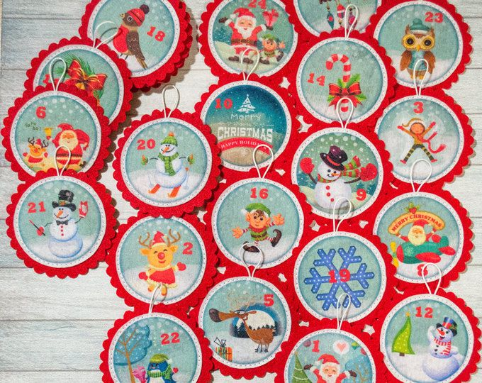 Christmas advent ornaments Toddler gift Advent calendar ornaments Kids Christmas decoration Christmas tree Christmas countdown Nephew gift