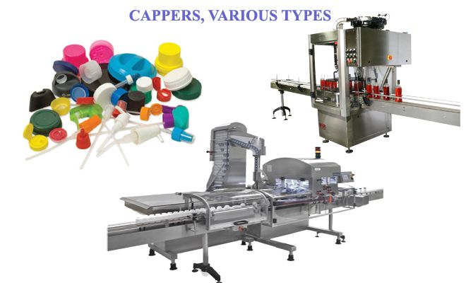 Capping machines and closures, various types, major manufacturers