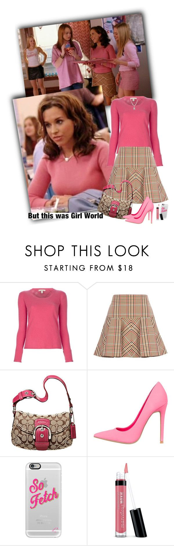 """""""Gretchen Weiners Mean Girls"""" by priscilla12 ❤ liked on Polyvore featuring Burberry, Coach, Casetify, Bare Escentuals, movie, meangirls, sofetch, YouGoGlennCoCo and gretchenweiners"""