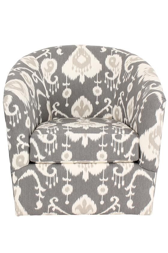 Comes in fun patterns and it swivels. We'll take it. HomeDecorators.com #customchair #seating