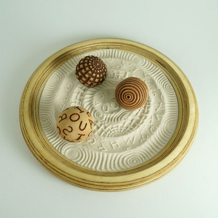 "Desktop Zen Garden, Writers Package: 12"" Circular Wooden Tray w/Sand & 3 Cement Spheres"