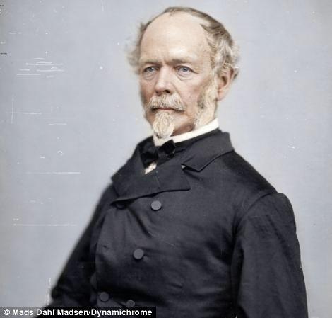 General Joseph E. Johnston, a legendary General of the Confederacy. British colorist Jordan Lloyd, 27, & fellow colorist Mads Madsen, 19, from Denmark.