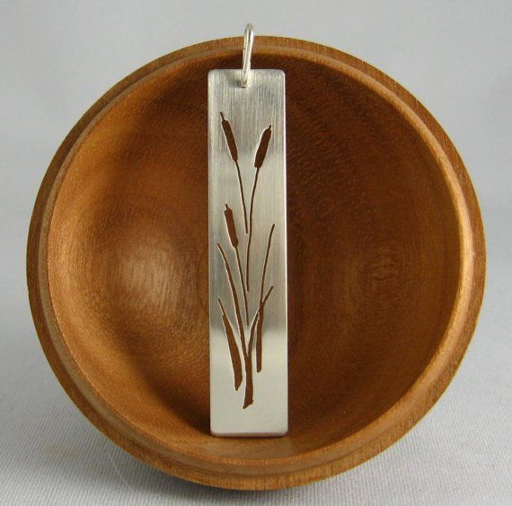 "Cattails sterling silver bar necklace - 16 or 18"" chain included, nature lover, corn dog grass, bulrush"