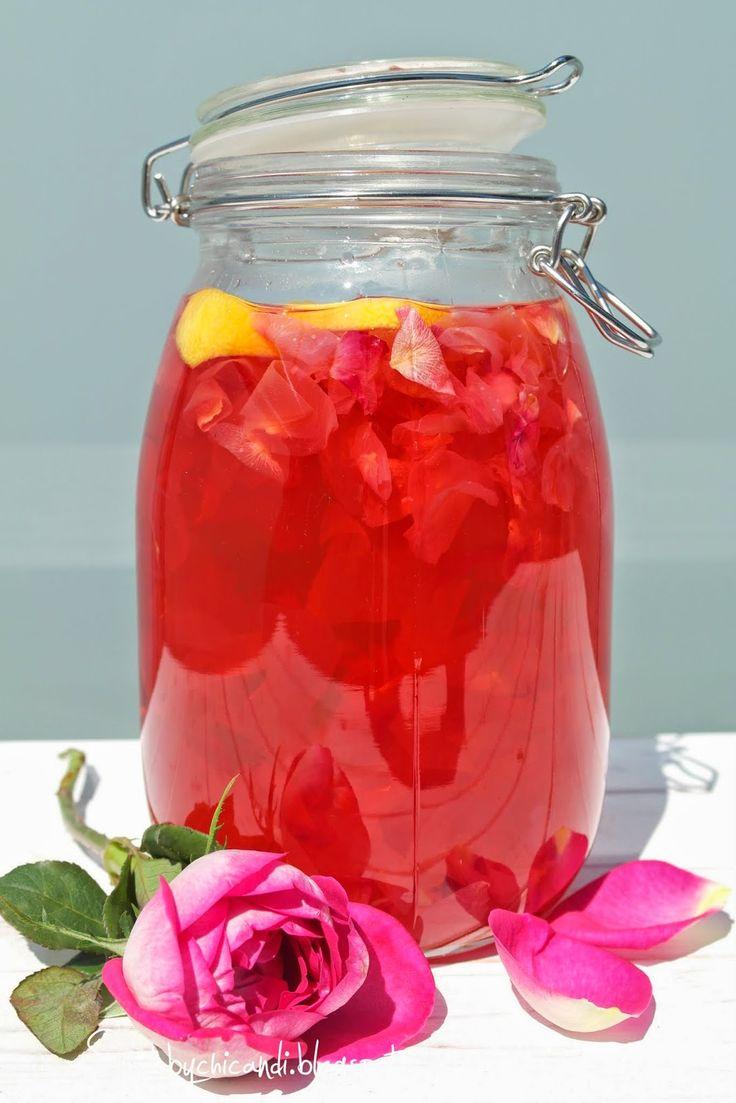 meine Rezepte mit Rosen, Rosensirup, Badesalz, Fußbad von Shabbychicandi