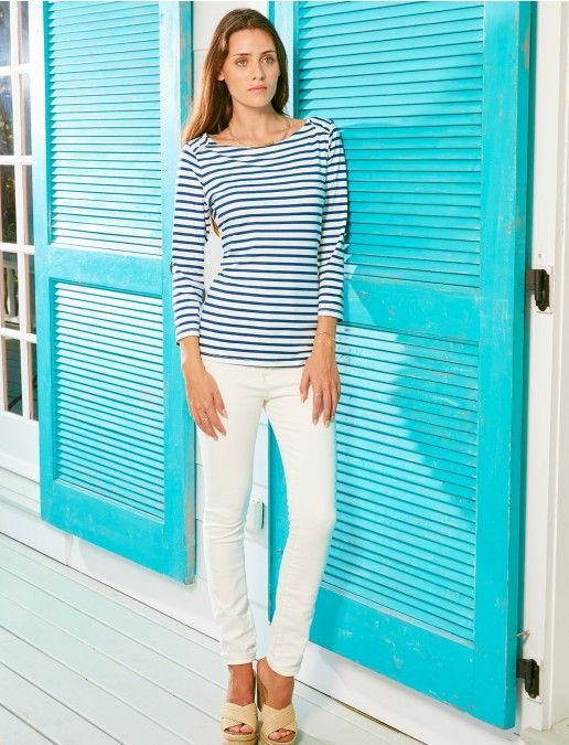 Ladies Rash top, Boat Neck UPF 50+, Navy Stripe