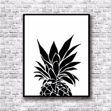 Modern Nordic Black White Minimalist pineapple Quotes Art Print Poster Wall Picture Canvas Painting Living Room Decor(China (Mainland))