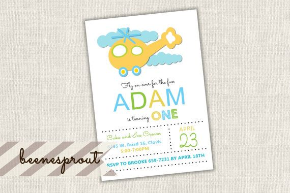 Orange Helicopter Birthday Invitation by beenesprout on Etsy