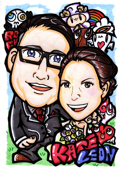 For Kate & Leon in New Zealand / Hand Drawing Portrait A4 size - 手書き似顔絵 A4サイズ   Thank you so much for ordering my hand drawing portrait A4 size, Natalie ;)  Hope you and your friends liked it!! Btw Happy wedding to Kate & Leon!! Thank you so much again!!   Be Happy and Never Give Up!!