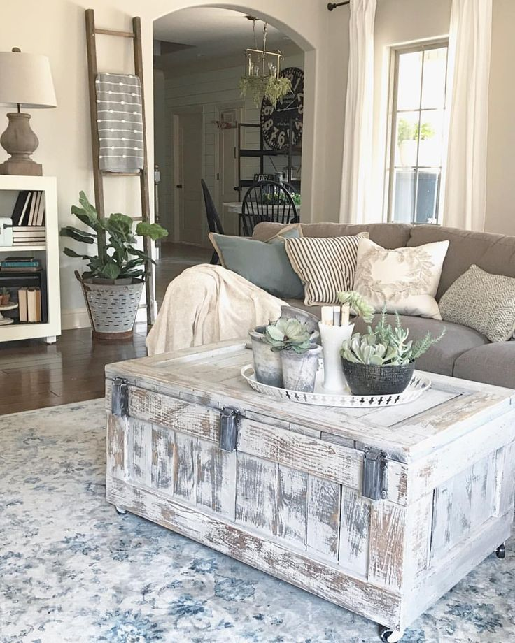 Love this distressed trunk coffee table family room