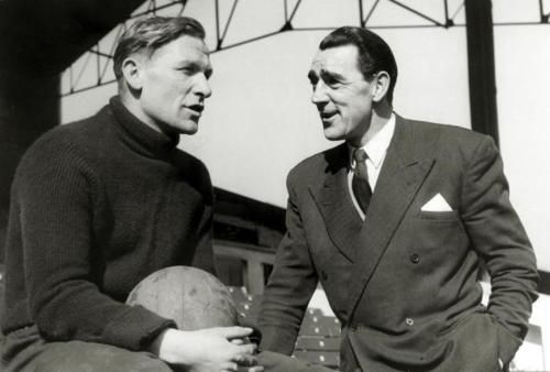 Manchester City goalkeepers Bert Trautmann and Frank Swift, 1956