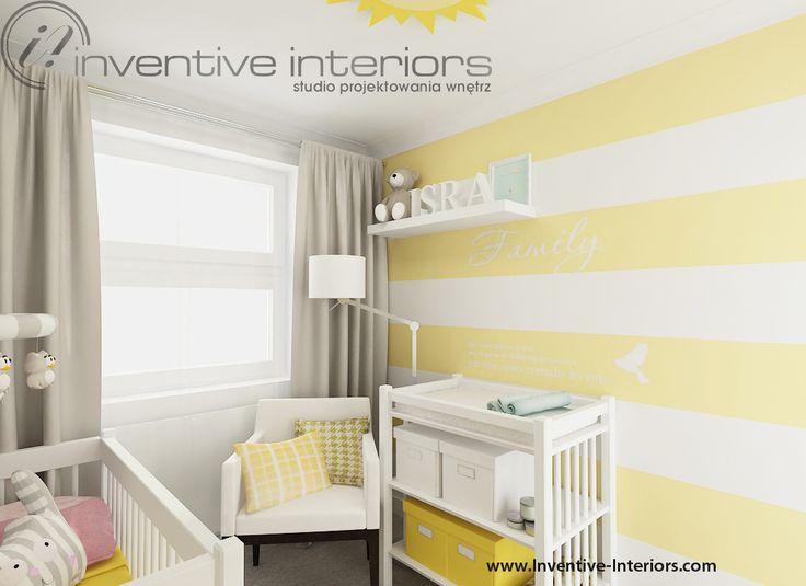 Projekt pokoju dziecięcego Inventive Interiors - biało-żółte pasy na ścianie