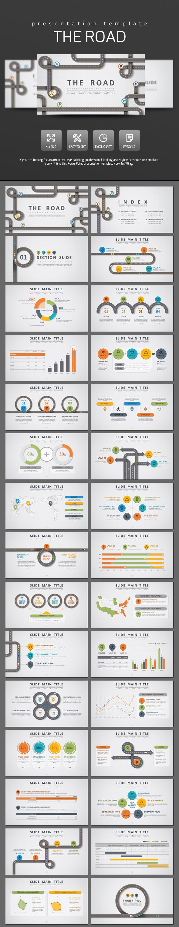 Road PowerPoint Template - PowerPoint Templates Presentation Templates
