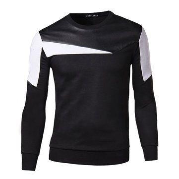 Mens Casual Fashion O-neck Collar Splicing Sweatshirt Slim Fit Pullover Sweatshirt at Banggood