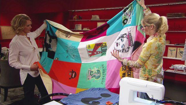video in Swedish.. Sew a bedspread of old T-shirts. Marie Teike gör nytt av gamla trasor. Denna gång blir det ett överkast av gamla t-tröjor.