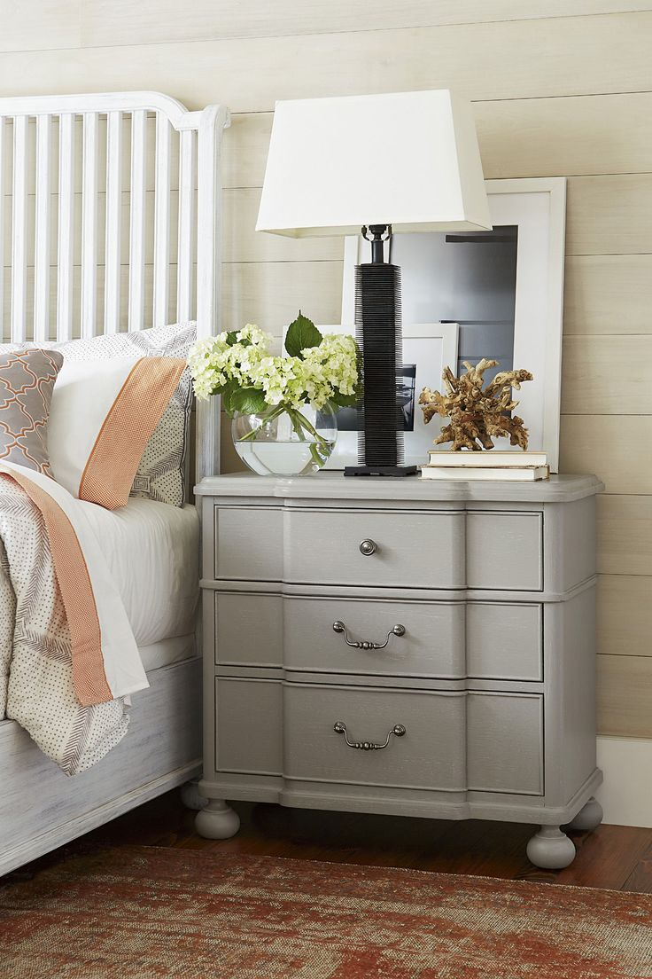 Off Dogwood Grey Nightstand By Paula Deen. @ Three Drawers @ Lift Lid With  Power Outlet