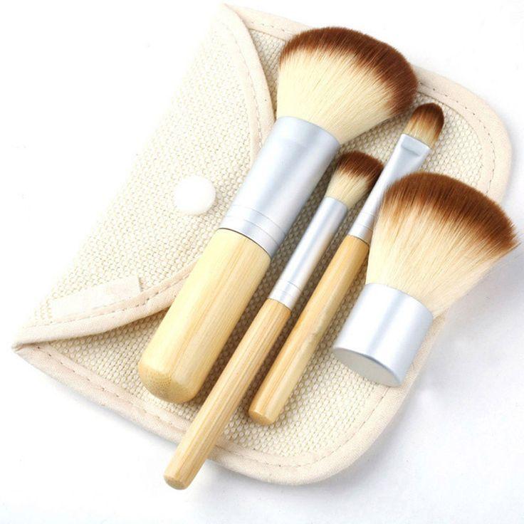 Fashion 4Pcs/Set  BAMBOO Portable Makeup Brushes Make Up Brush for Foundation Cosmetics Set Kit Tools Maquiagem Profissional