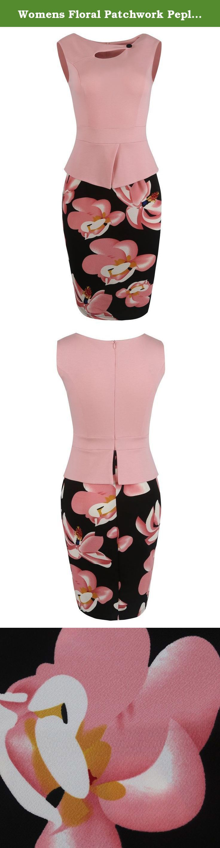 """Womens Floral Patchwork Peplum Sleeveless Summer Office Work Dress(Pink,L). Material: 75% Cotton + 25% Polyester Color: Navy & Red & Pink & Yellow & Black & Watermelon & Light Purple Dress Length: Midi Dress & Knee Length Occasion: OL Style Evening Party Wear to Work Homecominmg Size Chart (just for reference) Size Small: bust----- 31.8-33.8"""", waist----- 25.5"""", hips----- 33.4-35.4"""", Length----- 38.5"""" Size Medium: bust----- 33.8-35.8"""", waist----- 27.5"""", hips----- 35.4-37.4"""", Length…"""