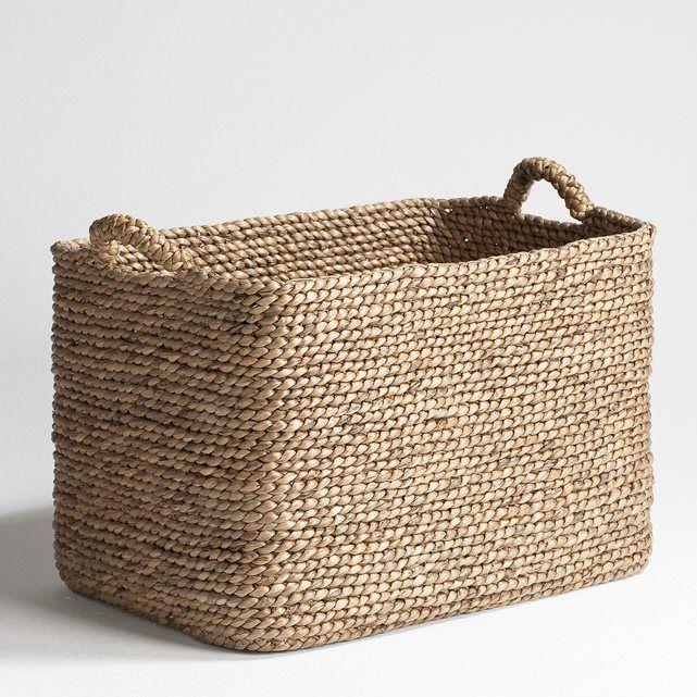 Rectangular Woven Basket. Length 50 x depth 35 x height 35 cm. Made from woven water hyacinth.