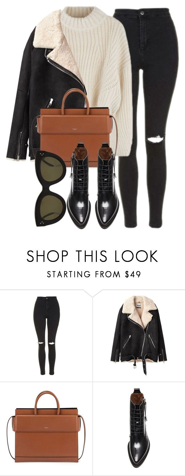 """""""Untitled #6910"""" by laurenmboot ❤ liked on Polyvore featuring Topshop, Acne Studios, Givenchy and CÉLINE"""