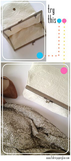 fold over framed clutch purse..Materials: 1/4 yard of Heavyweight Fabric*, Top Channel Purse Frame**, Magnetic Snap, Fabric Glue
