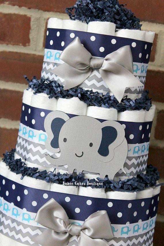 Gâteau de couches tier 3 gris et Navy Blue Elephant douche de