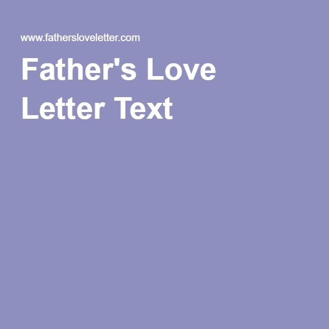 Father's Love Letter Text