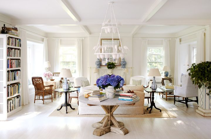 White-washed floors. Lots of seating.