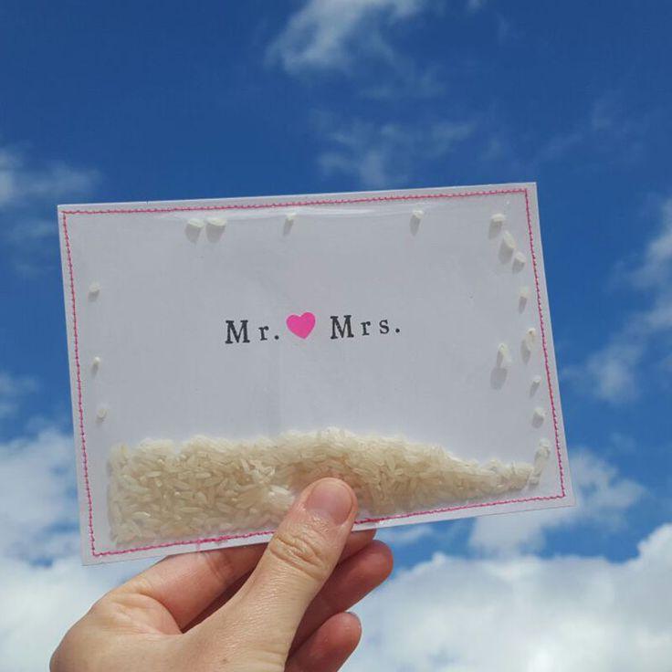 Mr. & Mrs. Leuke kaart voor een bruiloft, aanstaand bruidspaar. De rijst ritselt als je de kaart beweegt. Made by Jet it Flow