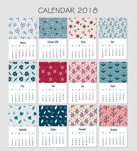 Floral calendar 2018 Calendar 2018 printable printable