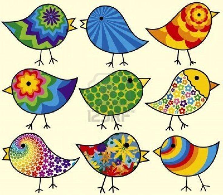 Nueve Funky Colorido Aves añadir a sus diseños Foto de archivo - 3808511