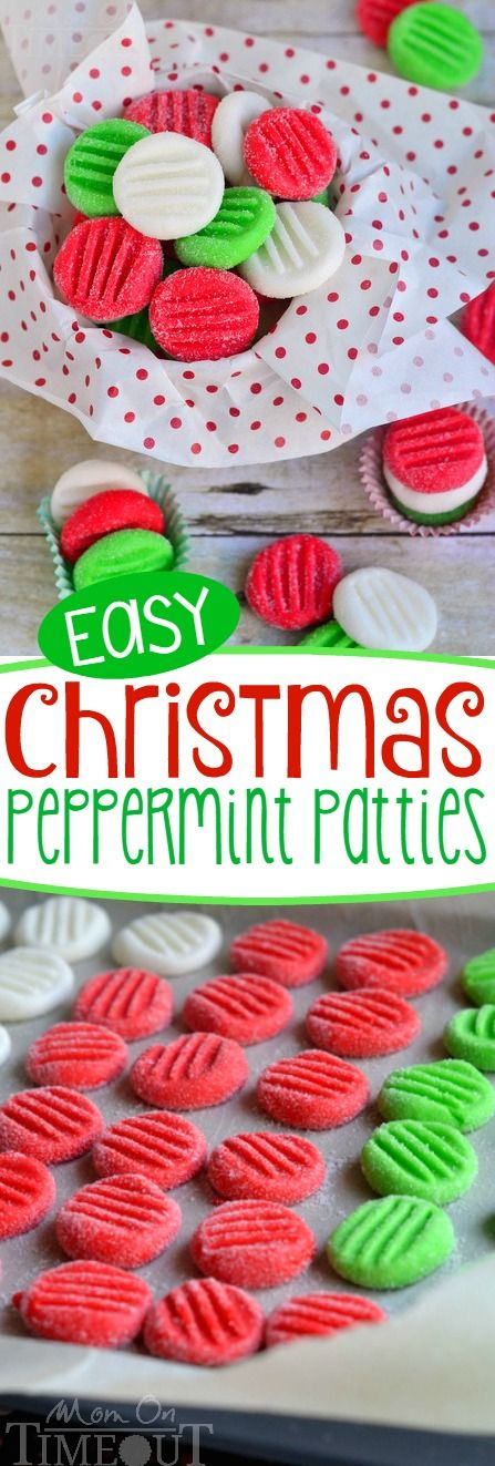 You're going to love this Easy Christmas Peppermint Patties recipe!  It's been a family tradition for YEARS! Super easy to make, fantastically festive, and always a hit with kids and adults alike.  These holiday treats are the perfect addition to cookie trays and make an excellent gift for teachers and friends! // Mom On Timeout