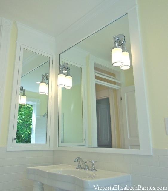 Custom cabinet recessed between wall studs.