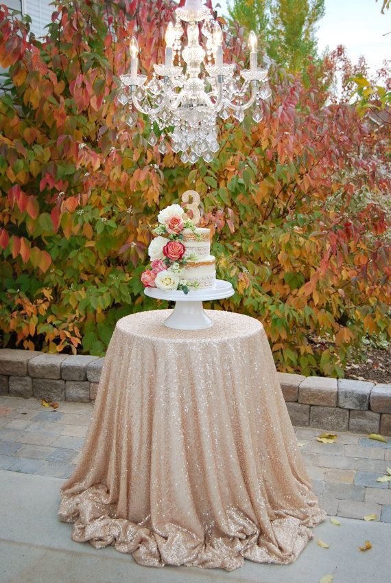 Glam Champagne Sequin Tablecloth For Vintage Wedding And Events! Custom  Sparkle