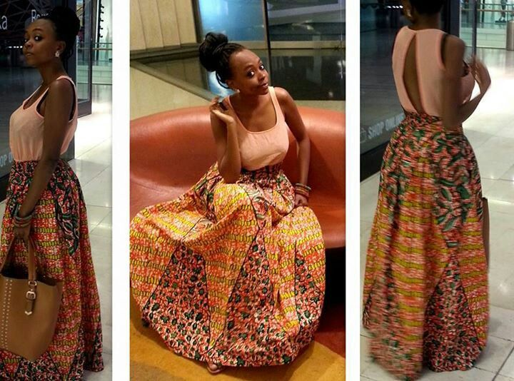 African long dress: pastel color