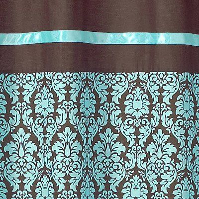 23 best curtains images on pinterest drapery fabric for Turquoise and brown bathroom decor
