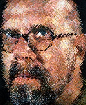 This picture by Chuck Clore is a self-portrait he did using a pixelated effect on his face. This is a different way of using pattern and texture on a painting.