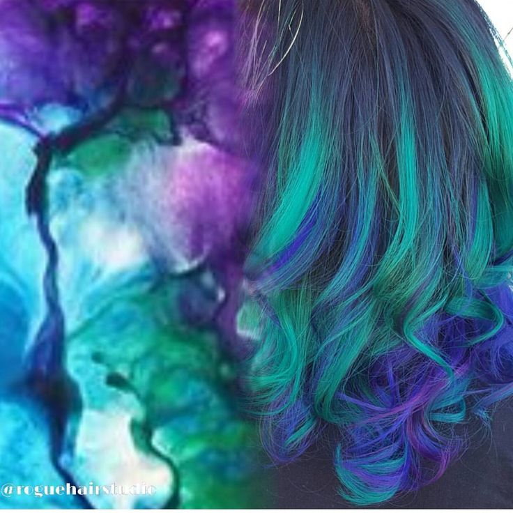 Beautiful abstract inspiration and hair color interpretation by @roguehairstudio mermaid hair hotonbeauty.com