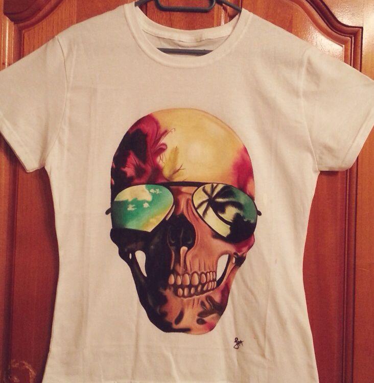 Skull handmade tshirt painted oil