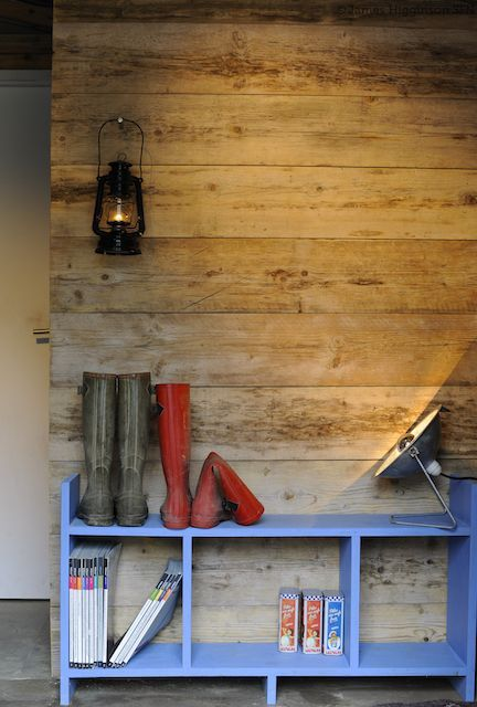 hanging lantern (off-grid living)    (recycled scaffold timber wall)