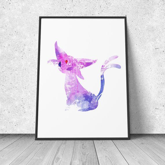Espeon, Pokemon Fan Art, watercolor illustration, giclee art print, silhouette, wall decor on Etsy, $14.95