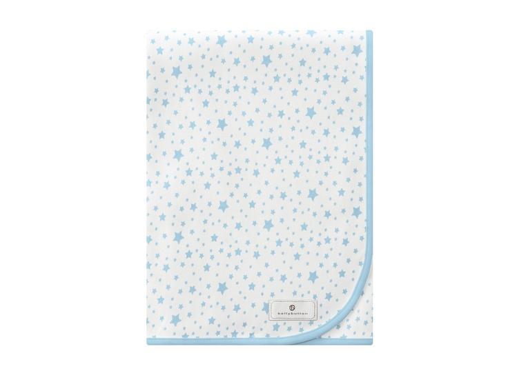 Jerseyfilt med stjärnor, ljusblå/vit - Bonti