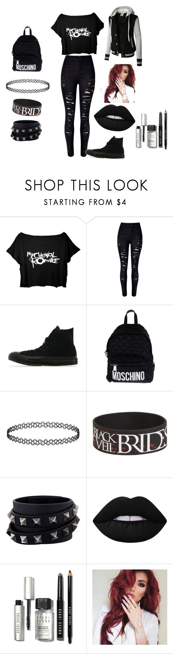 """""""Emo awesome going out look"""" by xxcathatesyouxx ❤ liked on Polyvore featuring LE3NO, Converse, Moschino, Valentino, Lime Crime and Bobbi Brown Cosmetics"""