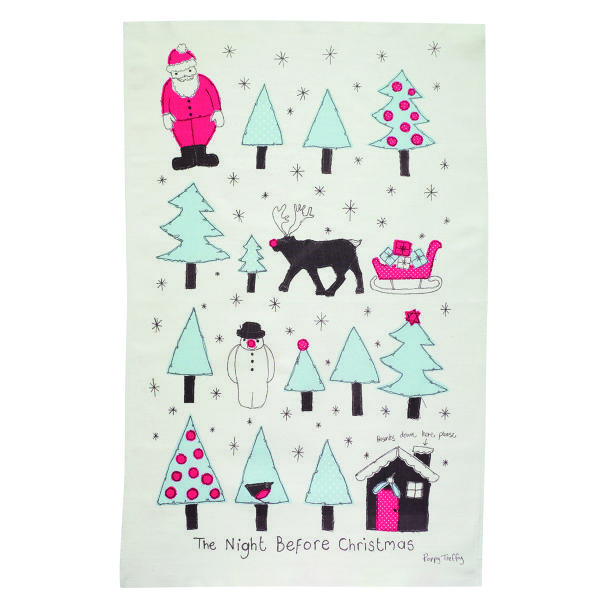 Printed unbleached cotton tea towel with Night Before Christmas design by Poppy Treffry. It will bring festive cheer to drying those dishes. Discover Poppy Treffry's story In The Window.