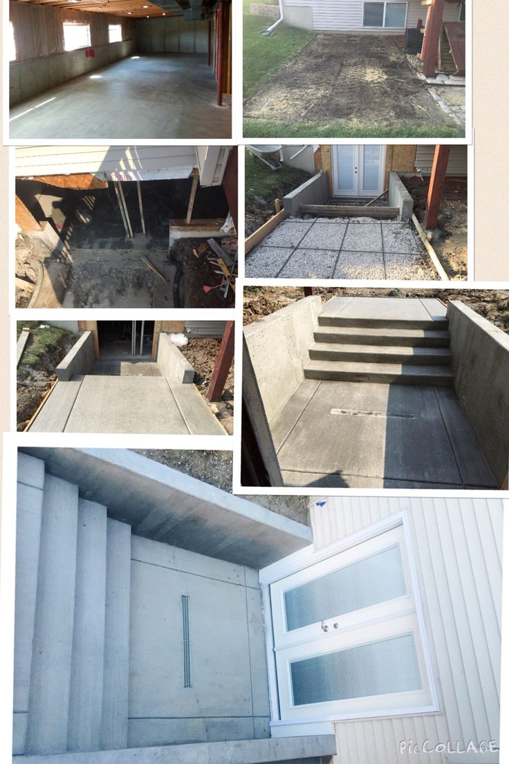 Have a Basement with no walk out or walk up? You can make a walk up! It was just a wall and window and then it was converted into a walk up here are some pictures of the steps to create the walk up with double door wide concrete footing and steps and retaining walls. We hired my grandpas company to do this for us. It transforms the whole basement and backyard. We needed the outside access.
